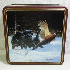Phillip Crowe Art Tin Square Box Lid Labrador Dogs